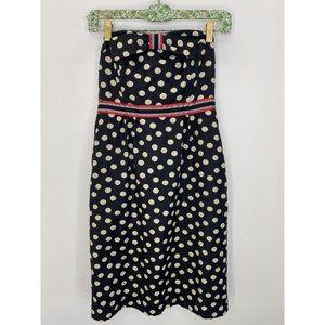 Anthropologie Polka Dot Strapless Dress Size 4